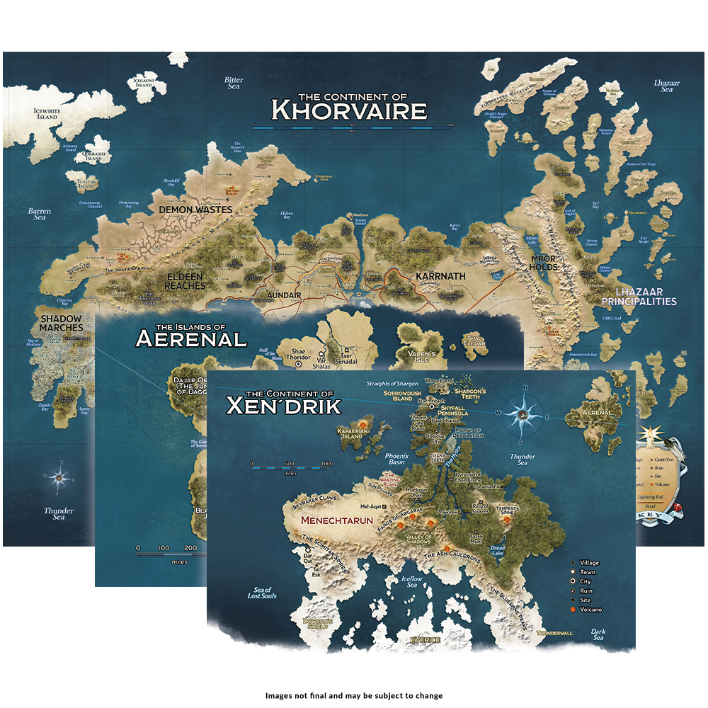 The maps of Korvaire and Xen'Drik and the Islands of Aerenal!